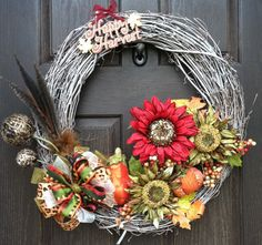 Fall Wreath  Happy Harvest by EggSong on Etsy, $74.00