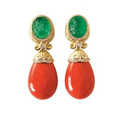 KATY BRISCOE - Carved Emerald & Diamond Earrings with Coral Drops in 18k Yellow Gold.