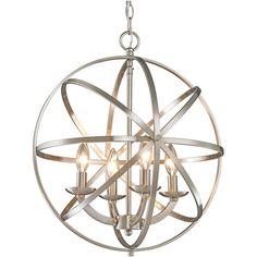 Brighten your home with this stunning chandelier from Z-Lite. The chandelier holds four incandescent bulbs that cast their light through circular metal bands.…