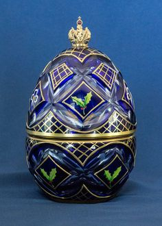 Vintage Theo Faberge Winter Egg Sterling Silver & Ruby Music Box