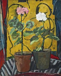 "huariqueje: "" Potted Flowers - Felice Casorati Italian Oil on canvas, cm "" Italian Painters, Italian Artist, Painting Still Life, Paintings I Love, Modigliani, Flower Images, Flower Art, Young Art, Italy Art"