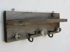 Antique Barnwood Coat Rack And Shelf With Glass Door Knobs And Drawer Pulls