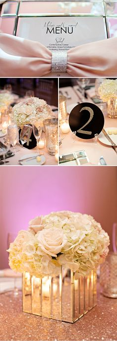 A Wedding Reception Inspired by Mirrored Furniture!  This is so Glamorous! | Kristen Weaver Photography