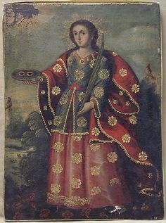 An eighteenth-century Peruvian depiction of St Lucy; she holds her attributes martyr's palm and her eyes (symbols of vision and light) on a plate. (Metropolitan Museum of art)