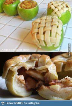 Apple pies baked in apples