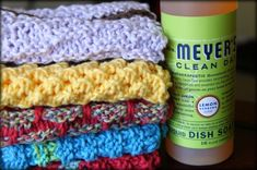 Knitted Dishcloths (& Homemade Cleaning Recipes)