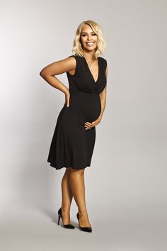 1c829e6316 Katie Piper Maternity Breastfeeding Black Wrap Over Jersey Dress