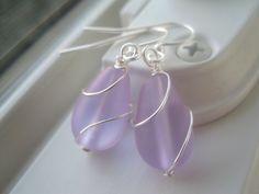 Purple Glass Earrings  Sea Glass Jewelry  Wire by Sparkleandswirl, $12.00