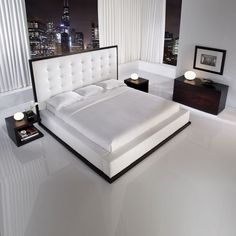 white bed black nightstands