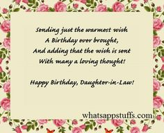 Birthday Wishes For Daughter Special In Law Messages