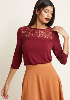 Lace Yoke 3, 4 Sleeve Top in XXS - Fitted Waist by ModCloth