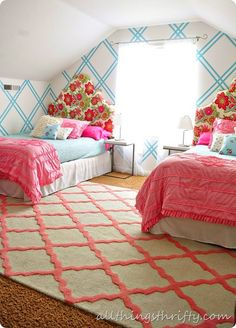 shared girls room--Pink and Turquoise Plaid Bedroom Plaid Bedroom, Home Bedroom, Girls Bedroom, Bedroom Decor, Bedroom Ideas, Bedroom Designs, Bedroom Rugs, Attic Bedrooms, Bedroom Makeovers