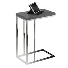 Savannah Modern Glossy Gray Accent Table