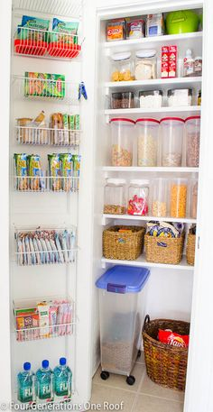 to create and organize a kitchen pantry on a budget. Our Organized Kitchen Pantry {closet} Reveal. Four Generations One RoofHow to create and organize a kitchen pantry on a budget. Our Organized Kitchen Pantry {closet} Reveal. Four Generations One Roof Kitchen Organization Pantry, Pantry Storage, Organization Hacks, Organized Kitchen, Tiny Pantry, Pantry Ideas, Basket Organization, Organizing Ideas, Closet Storage
