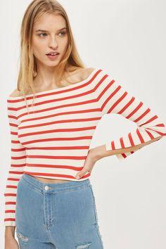 3db545f736a8b Stripe Bardot Split Sleeve Knitted Top