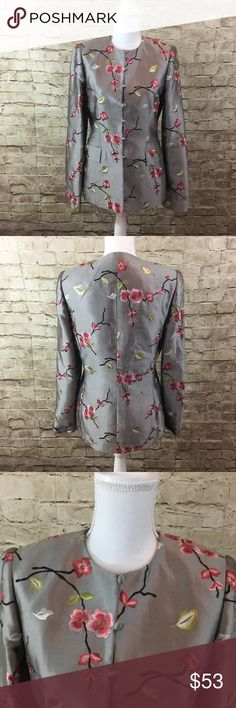Carlisle Floral embroidered blazer jacket Stunning blazer jacket with floral embroidered detail all over •This blazer is in mint condition no flaws noted • very unique 100% silk•! Carlisle Jackets & Coats Blazers