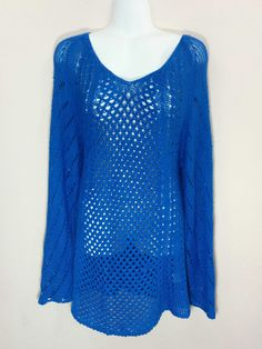 NY Collection blue pointelle knit v-neck tunic sweater, Large, L, #1791 #NYCollection #Tunic