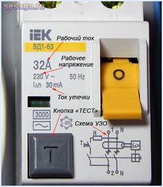 Параметры УЗО, указанные на корпусе