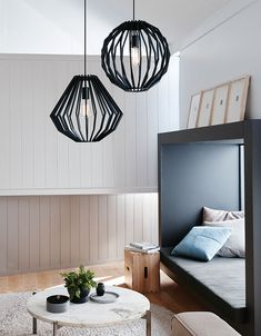 The Beacon Lighting Walderick 1 light large wooden squat pendant in black.