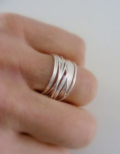 Silver Ring Wide Band Ring Wire ring by FreshJewelryDesign