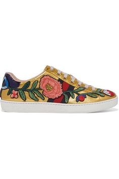 Gucci - Ace Watersnake-trimmed Appliquéd Metallic Leather Sneakers - Gold - IT35.5
