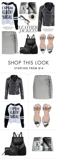 """Leather Jackets"" by helenevlacho ❤ liked on Polyvore featuring Chiara Ferragni and J.Crew"