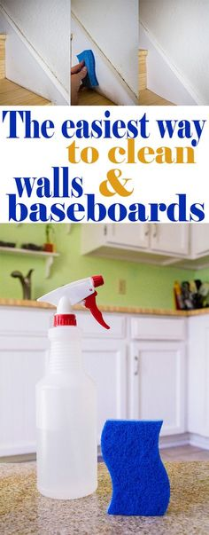 cleaning baseboards The Easiest Way to Clean Walls and Baseboards using a homemade non-toxic spray that gently and effectively removes dirt, food, fingerprints, or anything else you have on your walls and baseboards! Household Cleaning Tips, Deep Cleaning Tips, Cleaning Recipes, House Cleaning Tips, Natural Cleaning Products, Cleaning Solutions, Spring Cleaning, Cleaning Supplies, Green Cleaning