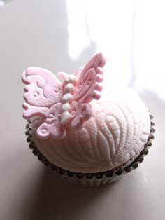 Pretty Pale Pink Butterfly Topped Cupcake