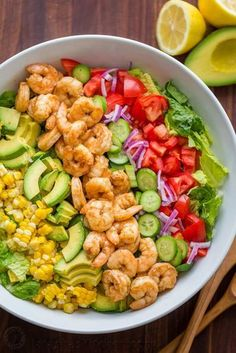 Avocado Shrimp Salad Recipe with cajun shrimp and the best flavors of summer. The cilantro lemon dressing gives this shrimp salad incredible fresh flavor! I would omit corn and make low carb. My new Pin Easy-Avocado-Shrimp-Salad-Recipe.jpg pinned on Salad Shrimp Avocado Salad, Shrimp Salad Recipes, Best Salad Recipes, Salad Recipes Video, Summer Salad Recipes, Seafood Recipes, Cooking Recipes, Salad With Shrimp, Shrimp Salads
