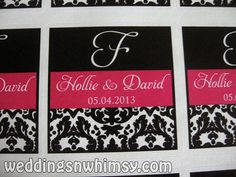 Hot Pink and Black Damask Wedding Favor Label/Sticker with Initial or Monogram | See more designs and order info at www.weddingsnwhimsy.com!