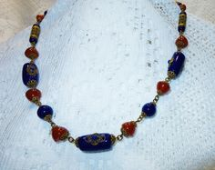 Antique Czech Neiger Brothers Carnelian and Lapis Glass Filigree Brass Necklace