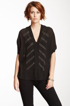 Beaded Front V-Neck Blouse on HauteLook