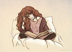 Bosque de Trazos: Hermione Granger Reading before Bed, by Lorena Garcia.