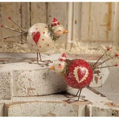 OK so technically these are for valentine's but they're so cute & the right colors for Christmas too.  Make your own with with Paper Mache Clay.