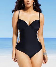 c8a4b35d5e415 Black Midnight Cutout One-Piece - Women   Plus by Swim Sexy