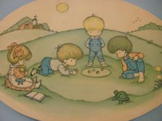 Joan Walsh Anglund Wall Art Decor / Wall Hanging / Children playing Marbles / 1970s / Plaque