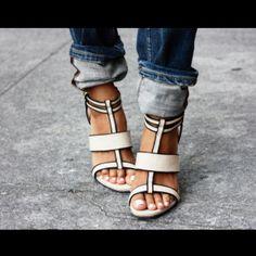 Debra Linen-Leather Wedge Sandal by Rachel Zoe   (via tumblr)