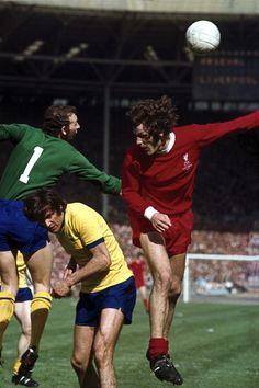 FA Cup Final Arsenal FC goalie Bob Wilson in action vs Liverpool FC Alec Lindsay at Wembley Stadium London England 5/8/1971 Neil Leifer X15843