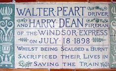 Monument to Walter Peart and Harry Dean, driver and fireman of the Windsor Express, Postman's Park, London Little Britain, Windsor, Dean, Burns, England, London, Park, Life, Parks