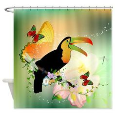 #Toucan with #flowers Shower# Curtain