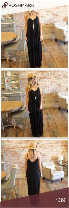 """Black V Neck Cami Maxi Dress with Pockets Modeling size small  Bust laying flat pit to pit: S 17"""" M 18"""" L 19"""" Length S 58"""" M 59"""" L 60"""" 55 poly 40 rayon 5 spandex IRPD7510202.RS1024P Infinity Raine Dresses Maxi"""