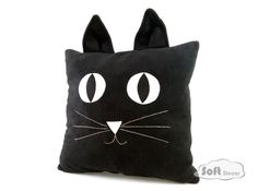 black cat pillow - soft decor