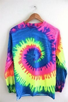 Neon Rainbow Tie-Dye Long Sleeve Tee from Olivia Rose Inc. Shop more products from Olivia Rose Inc on Wanelo. Tie Dye Outfits, Cute Outfits, Tomboy Outfits, Tie Dye Long Sleeve, Long Sleeve Shirts, Visual Kei, Tie Dye Crafts, How To Tie Dye, Diy Sweatshirt