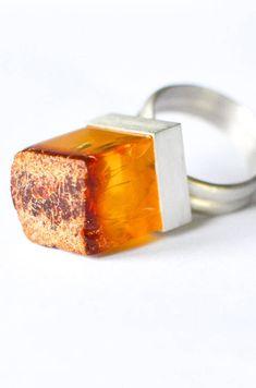 Amber Ring Baltic Amber and Sterling Silver Ring orange Ring Ring, Turquoise Jewelry, Gemstone Jewelry, Baltic Amber Jewelry, Amber Ring, Amber Stone, Statement Rings, Beautiful Rings, Orange
