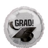 Silver Congrats Grad Graduation Balloon 18in - 18in Graduation Balloons- Graduation Balloons- Graduation- Special Occasions - Party City