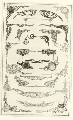 art nouveau four panels line art - Google Search