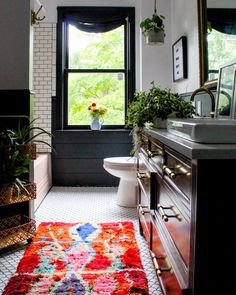 We love all the plants in this bathroom! What do you think of this vintage styl… We love all the plants in this bathroom! 🌿 What do you think of this vintage style bathroom? TAG a friend who will love this decor! Eclectic Bathroom, Bathroom Wall Decor, Bathroom Styling, Small Bathroom, Bathroom Ideas, Bathroom Inspo, Bathroom Inspiration, Bathroom Goals, Bathroom Makeovers