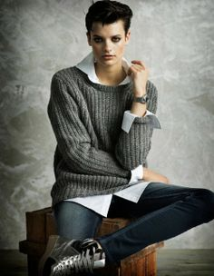sweater, white button up, skinny jeans, boots