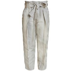 3.1 Phillip Lim Striped Trousers ($600) ❤ liked on Polyvore featuring pants, high rise pants, wide leg cropped pants, white wide leg trousers, high-waisted trousers and white pants