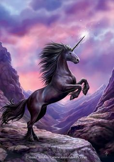 What a gorgeous illustration of a black Unicorn, the rarest of all the mythological beings.